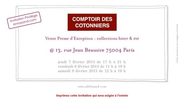 Invitation Comptoir des Cotonniers