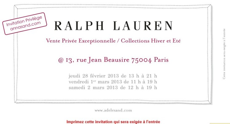 Invitation Ralf Lauren
